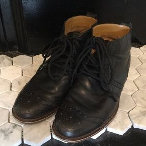 J Shoes black leather wingtip ankle boots